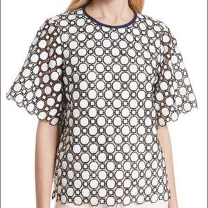 Tory Burch Gloria Geometric Guipure Lace Top White